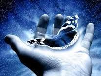 Mano che contiene la farfalla della vita! Emozioni!