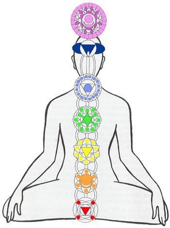 I sette chakra principali: Muladhara, Svadhistana, Anahata, Vishuddha, Ajna, Sahasrara